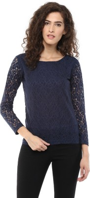 Color Cocktail Casual Full Sleeve Self Design Women's Blue Top