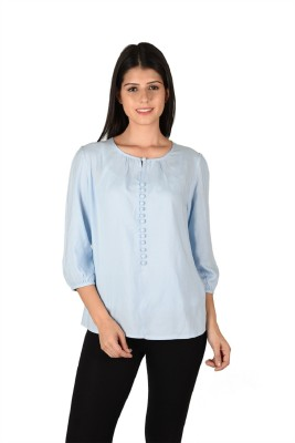 French Creations Casual 3/4 Sleeve Solid Women's Blue Top