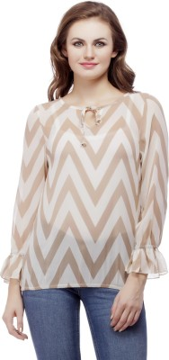Mask Lifestyle Casual 3/4 Sleeve Striped Women,s Multicolor Top