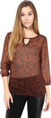 TheGudLook Casual 3/4 Sleeve Printed Women's Brown Top