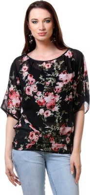 Envy Me Casual Short Sleeve Floral Print Women,s Black, Red Top