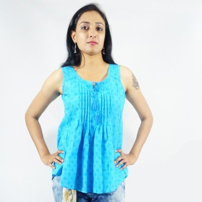 StareFashions Casual Sleeveless Printed Women's Blue Top