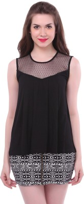 Colors Couture Casual Sleeveless Solid Women's Black Top