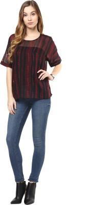 Color Cocktail Casual Bell Sleeve Printed Women's Maroon Top