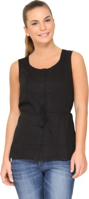 Alibi By Inmark Casual Sleeveless Solid Women,s Black Top