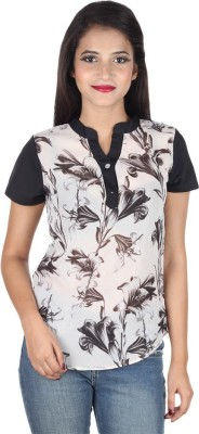 IndiFrench Moda Casual Short Sleeve Self Design Women's Black, White Top