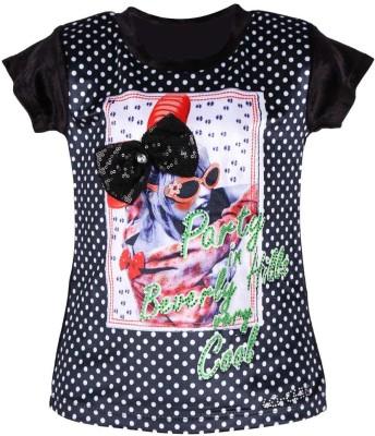 LEI CHIE Casual Short Sleeve Polka Print Girl's Black Top