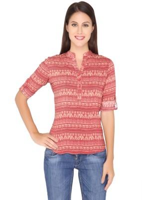 Girl Next Door Casual Roll-up Sleeve Printed Women's Maroon Top