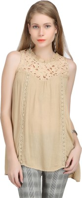 Bainy Casual Sleeveless Solid Women,s Brown Top