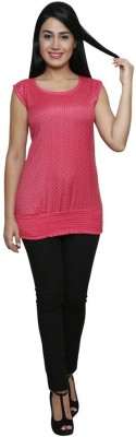 Sea Lion Casual Sleeveless Polka Print Women's Red Top