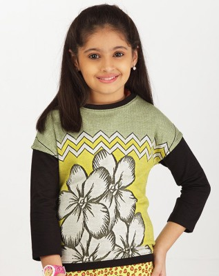 Ventra Casual 3/4 Sleeve Printed Girl's Green Top
