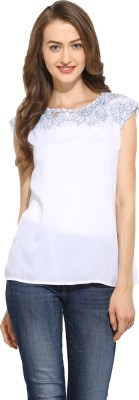 Free & Young Casual Sleeveless Printed Women's White Top