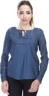 Falak Casual Full Sleeve Solid Women's Dark Blue Top