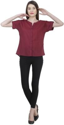 Uptowngaleria Formal Short Sleeve Solid Women's Maroon Top