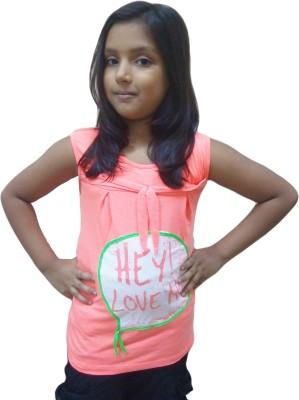 Instyle Casual Sleeveless Self Design Girl's Orange Top