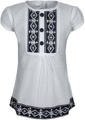 Jazzup Casual Short Sleeve Embroidered Girl's White, Black Top