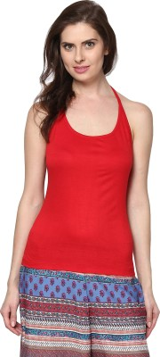 Trend18 Casual Sleeveless Solid Womens Red Top
