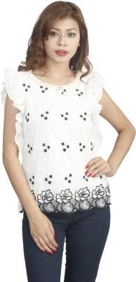 Naitik Casual Sleeveless Printed Women's Black, White Top