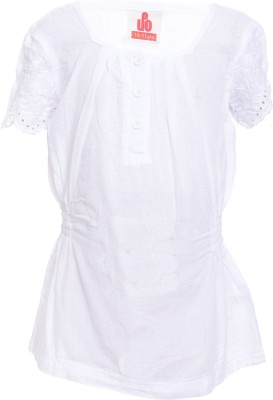 UFO Casual Short Sleeve Embroidered Girl's White Top