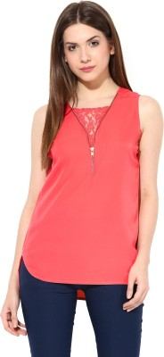 Miss Chase Casual Sleeveless Solid Women's Maroon Top at flipkart