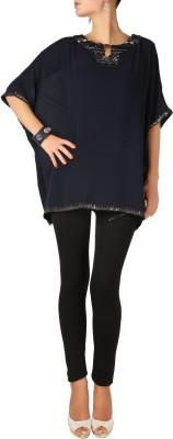Karmik Casual Kimono Sleeve Solid Women's Black Top