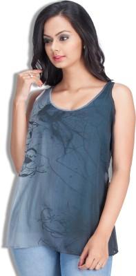 Colsa Casual Sleeveless Graphic Print Women's Blue Top