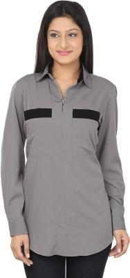 CraftZen Casual Full Sleeve Solid Women's Grey, Black Top