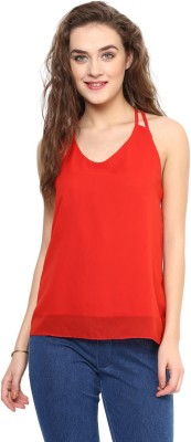 Uptownie Lite Party Sleeveless Solid Women's Red Top