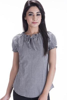 Amadore Casual Short Sleeve Checkered Women's Black Top at flipkart