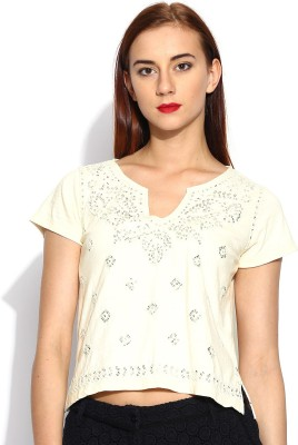 Noble Faith Casual Short Sleeve Embroidered Women's White Top