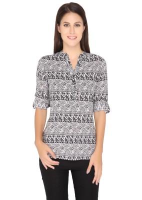 Girl Next Door Casual Roll-up Sleeve Printed Women's Black Top