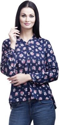 Mallory Winston Casual Full Sleeve Floral Print Women's Blue Top