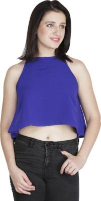 Ashtag Lounge Wear, Party Sleeveless Solid Women's Blue Top