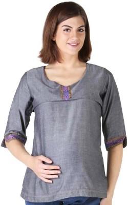 Morph Maternity Formal 3/4 Sleeve Solid Women's Grey Top