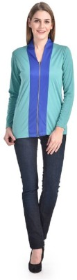 PINK SISLY Casual Full Sleeve Solid Women's Blue, Light Green Top