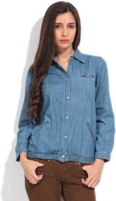 Flying Machine Casual Full Sleeve Solid Women's Blue Top