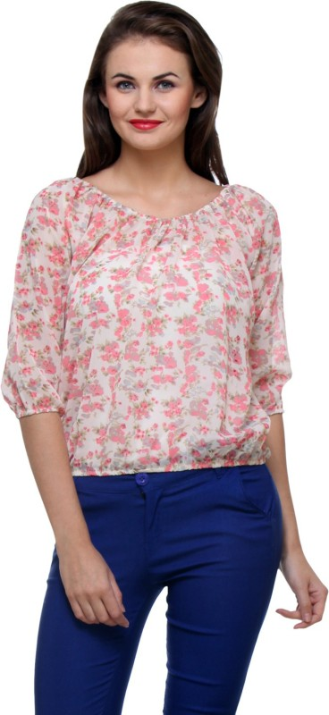 Purys Casual 3/4th Sleeve Floral Print Women's Pink, White Top