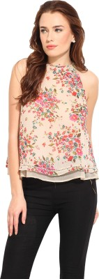 Blue Sequin Casual Sleeveless Floral Print Women's Beige Top
