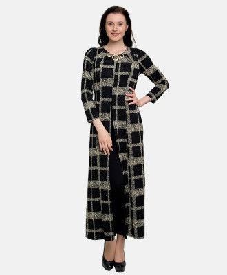 GO INDIA STORE Party Full Sleeve Checkered Women's Black Top