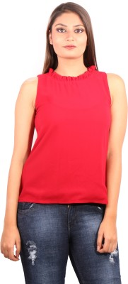 Showoff Casual Sleeveless Solid Women's Maroon Top