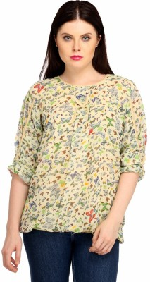 Snoby Casual 3/4 Sleeve Printed Women's Multicolor Top
