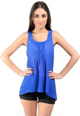 Oranje Casual Sleeveless Solid Women's Light Blue Top