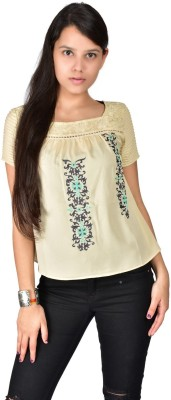 Palette Casual Short Sleeve Embroidered Women's Beige Top