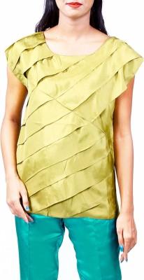 Priveeparis Casual Short Sleeve Solid Women's Green Top