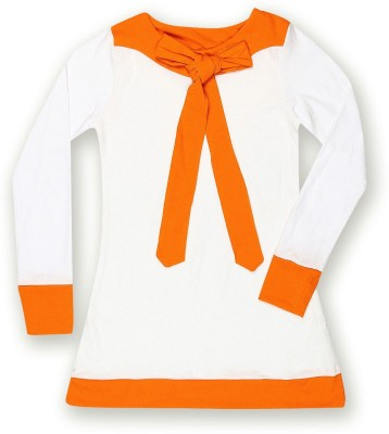 Dreamszone Casual 3/4 Sleeve Solid Girl,s White, Orange Top