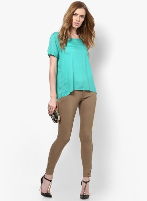 Only Casual Short Sleeve Solid Women's Green Top