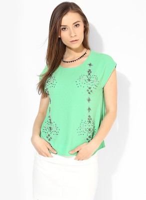 Vero Moda Casual Short Sleeve Embellished Women's Green Top at flipkart