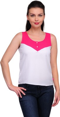 Tops and Tunics Casual Sleeveless Solid Women's White, Pink Top