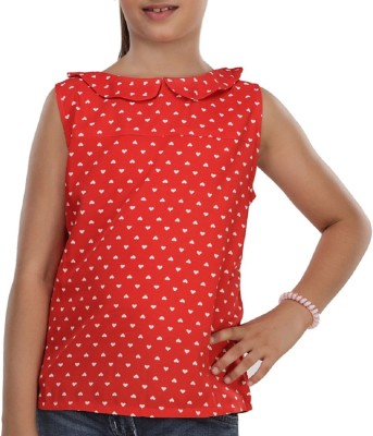 Trmpi Party Sleeveless Printed Girl's Red Top