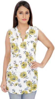 Franclo Casual Sleeveless Floral Print Women's Yellow Top